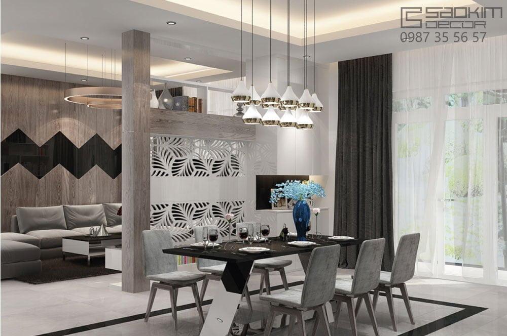Thiết kế nội thất phòng ăn chung cư phong cách hiện đại