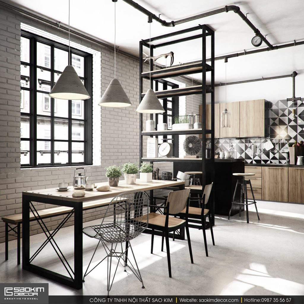 Phòng ăn mang phong cách công nghiệp thông minh và sáng tạo