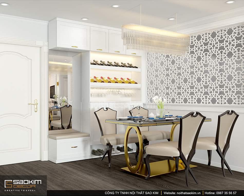 Mẫu thiết kế nội thất phòng ăn theo phong cách tân cổ điển