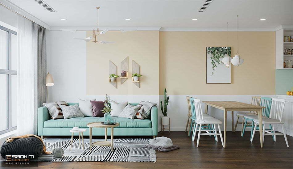 Mẫu thiết kế nội thất chung cư tại Hà Nội mang phong cách Scandinavian