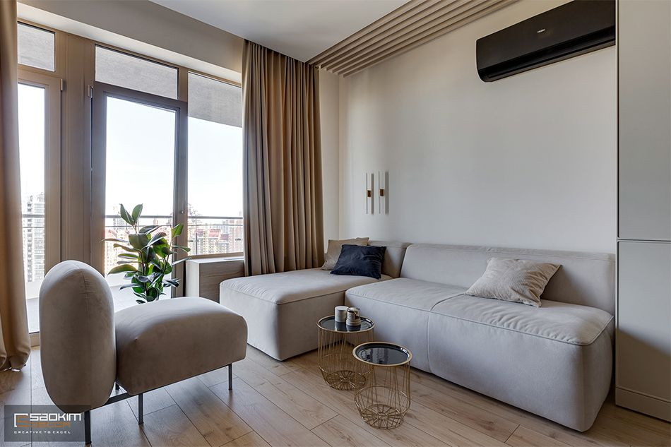 Thiết kế thi công nội thất phòng khách chung cư La Casta Tower 48m2