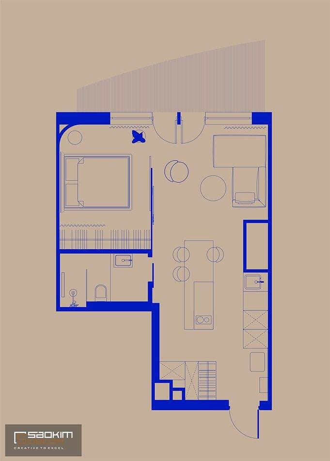 Sơ đồ thiết kế thi công nội thất căn hộ 48m2 La Casta Tower