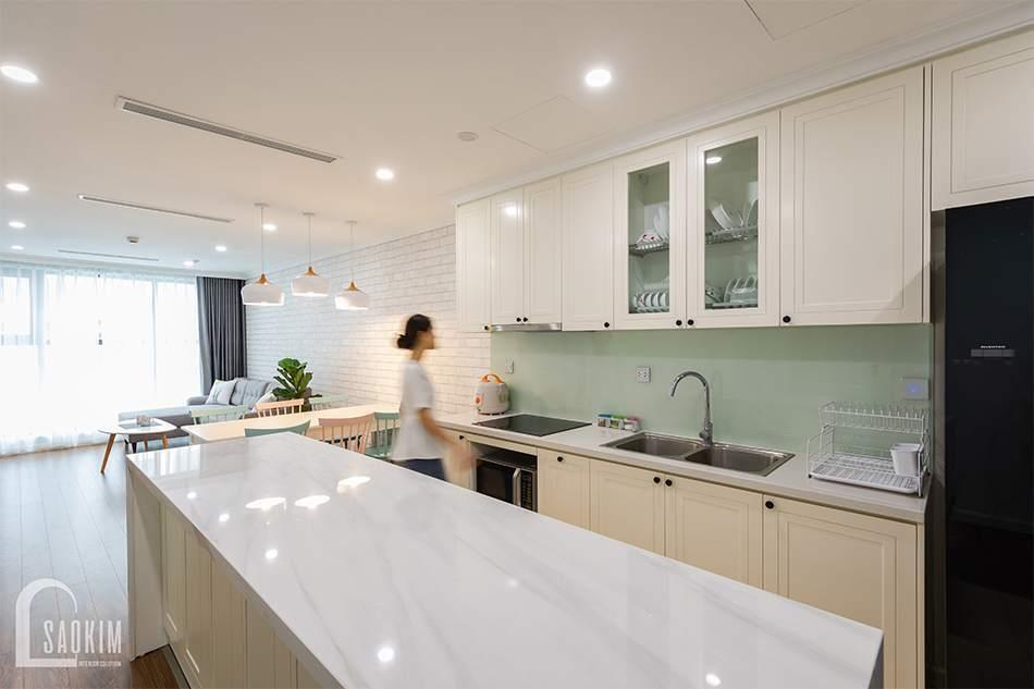 Thiết kế nội thất phòng bếp tối giản, sáng sủa