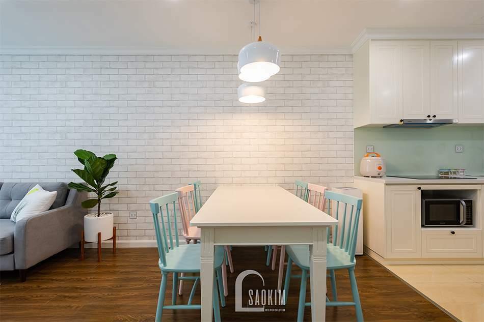 Mẫu thiết kế thi công nội thất phòng ăn chung cư Sunshine Garden 108m2