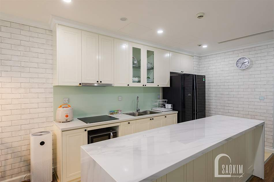 Hình ảnh thiết kế thi công nội thất phòng bếp chung cư Sunshine Garden 108m2