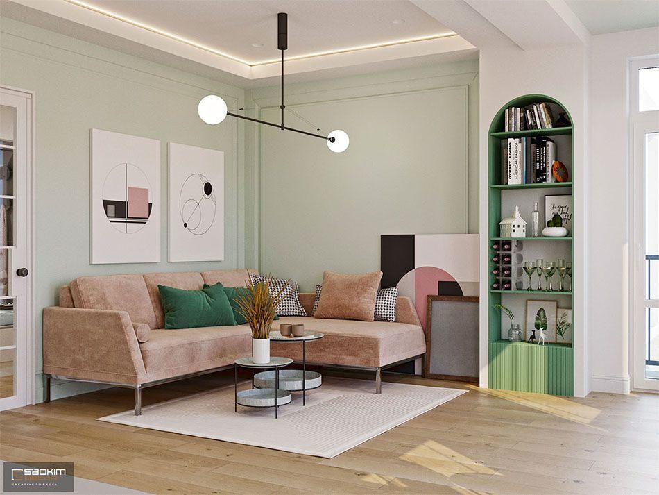 Mẫu thiết kế phòng khách căn hộ 70m2 dự án Vinhomes Symphony Riverside