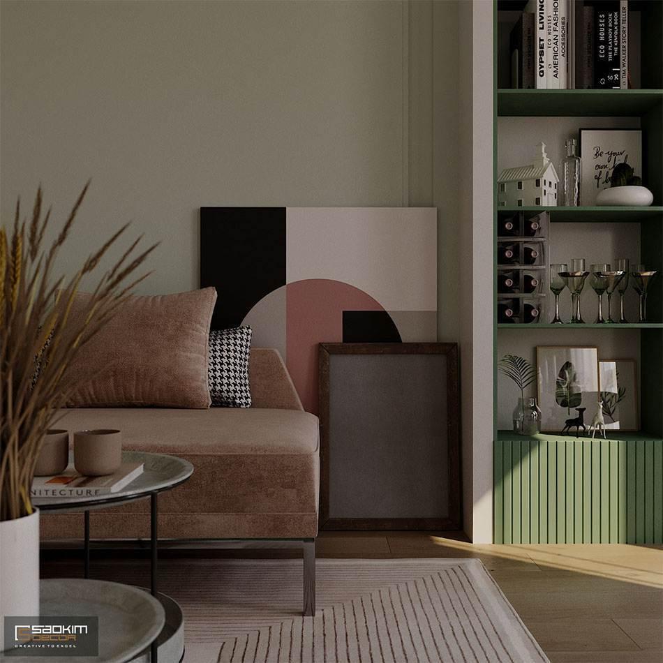 Phòng khách mang đậm gu thẩm mỹ và phong cách của gia chủ