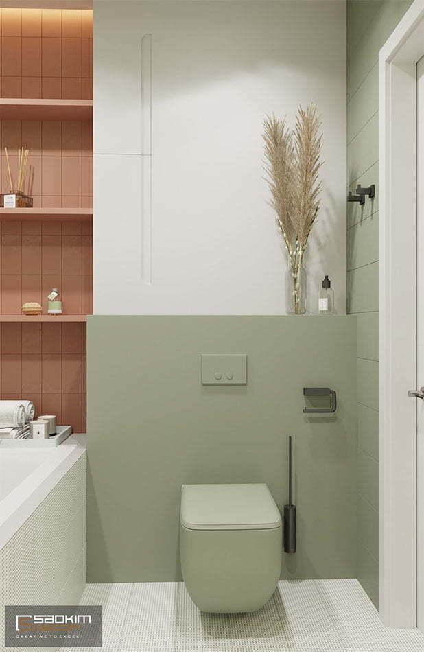 Không gian phòng tắm trong thiết kế căn hộ chung cư 70m2