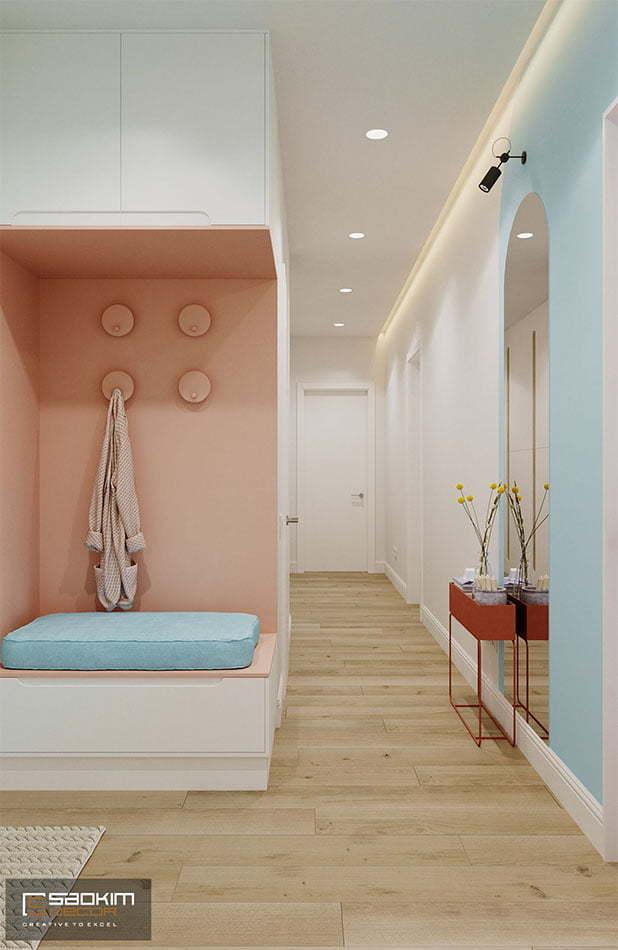 Thiết kế tiền sảnh căn hộ 70m2 tối giản, tiện nghi