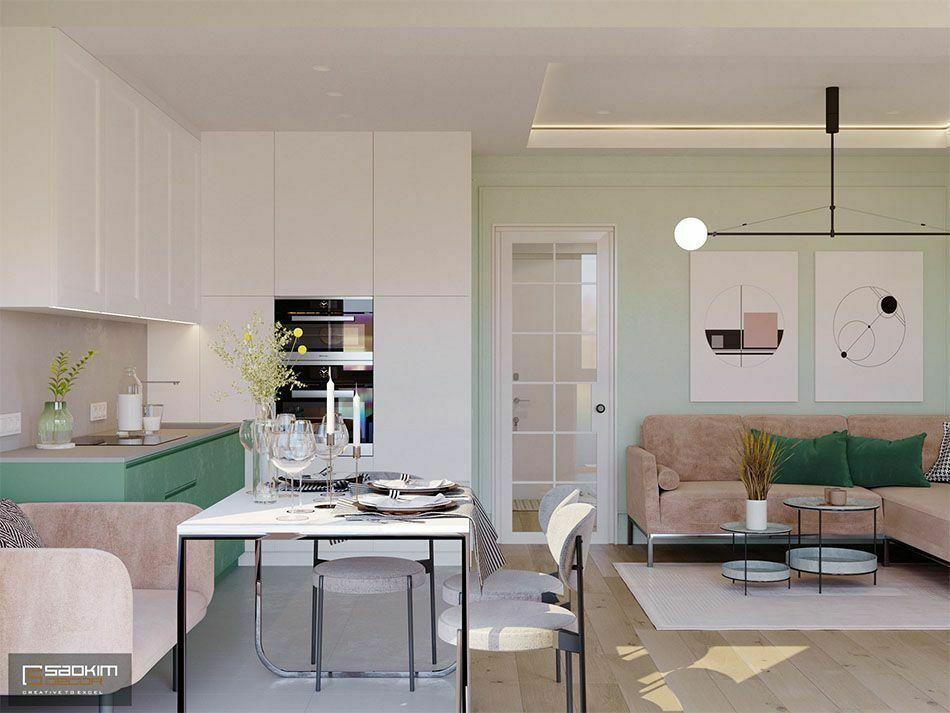 Thiết kế không gian mở căn hộ 70m2 dự án Vinhomes Symphony Riverside