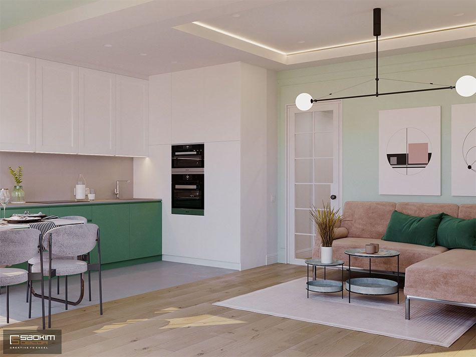 Thiết kế nội thất căn hộ chung cư 70m2 rộng thoáng, tiện nghi