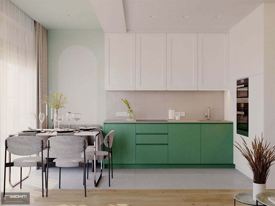 Mẫu thiết kế không gian bếp căn hộ 70m2 dự án Vinhomes Symphony Riverside