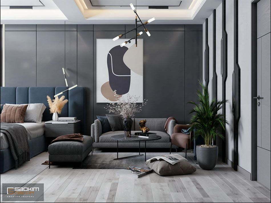 Mẫu thiết kế nội thất phòng khách căn hộ Studio Vinhomes Smart City 38m2
