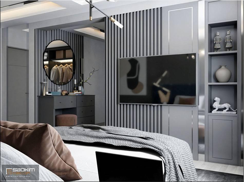 Thiết kế vách nan gỗ sang trọng, tinh tế cho căn hộ studio đẹp