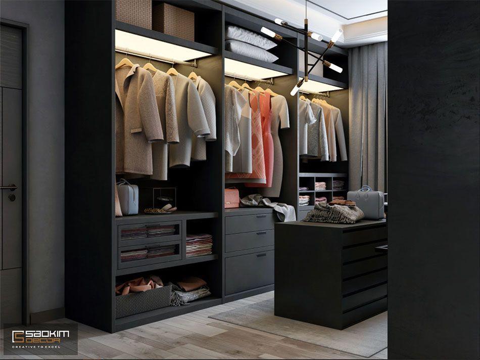 Mẫu thiết kế nội thất phòng thay đồ căn hộ studio căn hộ Vinhomes Smart City 38m2