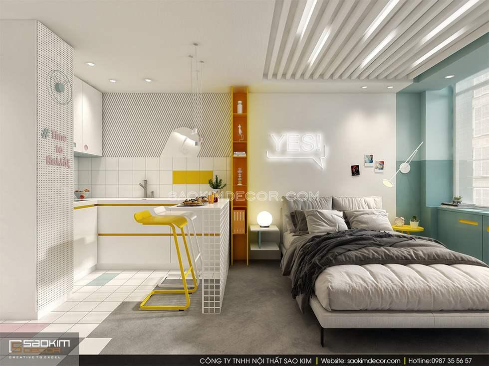 Mẫu thiết kế nội thất chung cư giá rẻ 25m2 đơn giản, tiện nghi