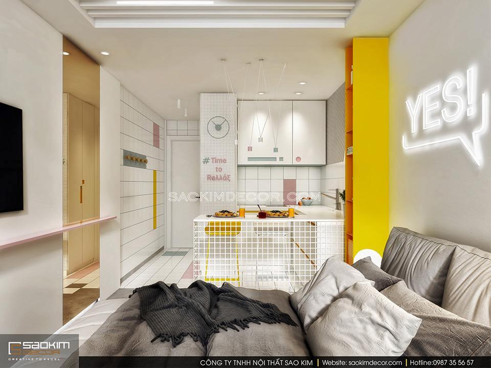 Mẫu thiết kế nội thất chung cư giá rẻ 25m2 với chi tiết trang trí độc đáo