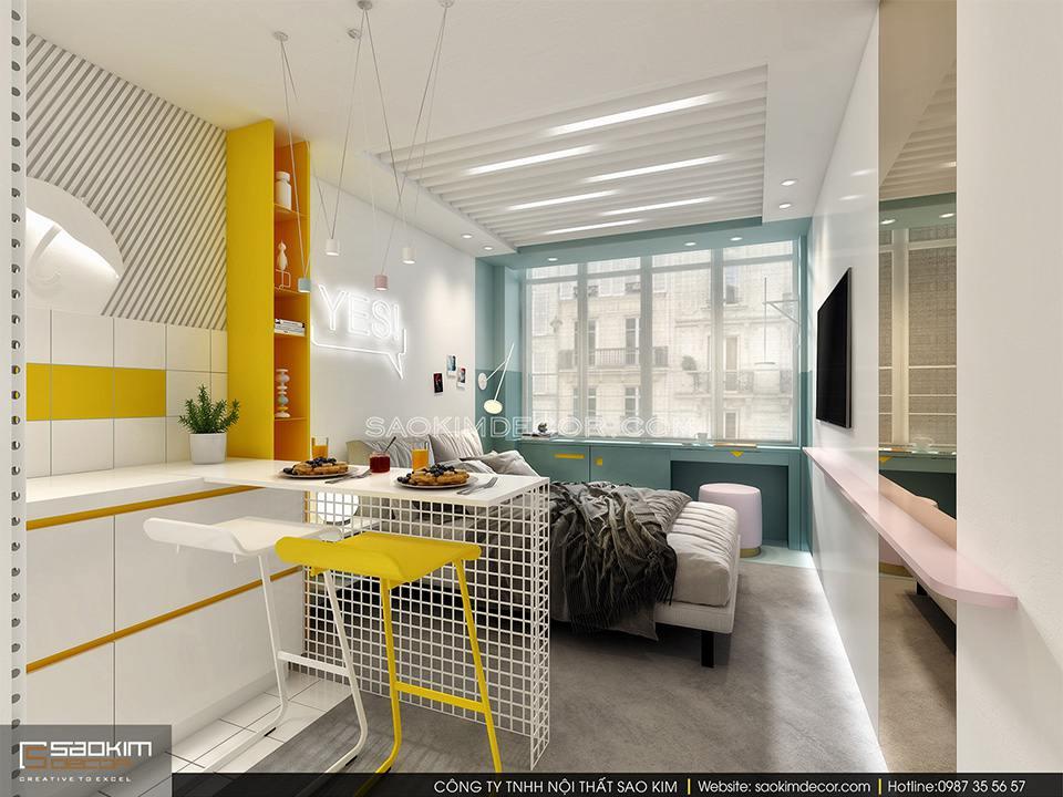 Thiết kế nội thất tối giản, tiện nghi cho căn hộ nhỏ 25m2