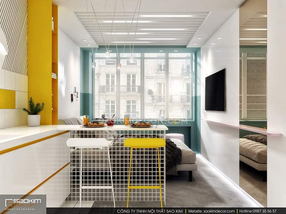 Thiết kế cửa kính cỡ lớn cho không gian căn hộ 25m2