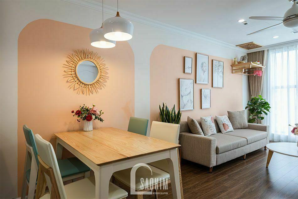 Thi công phòng khách chung cư Sunshine Garden tạo không gian mở với bàn ăn và bếp giúp căn hộ trở nên rộng thoáng hơn