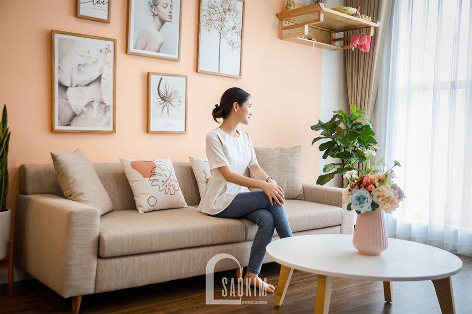 Thiết kế và thi công phòng khách chung cư Sushine Garden gam màu pastel ngọt ngào, cuốn hút
