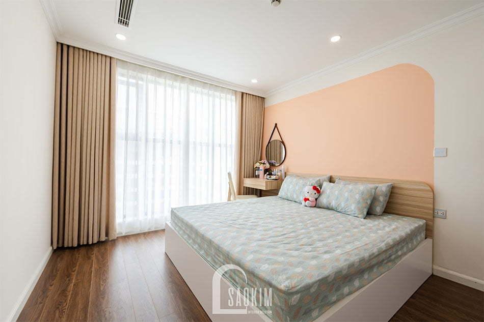 Phòng ngủ master có gam màu đồng nhất với không gian sinh hoạt chung