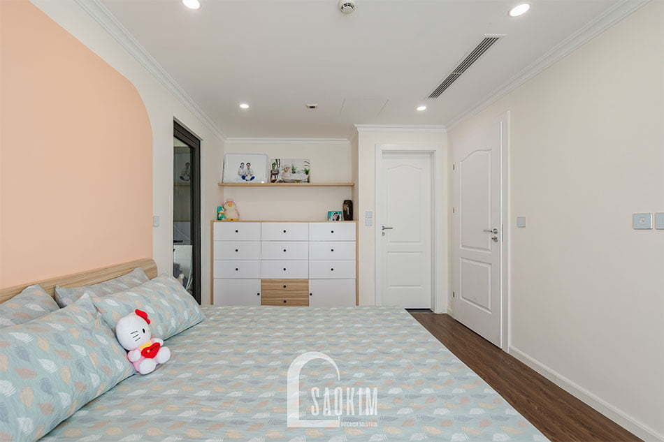Phòng ngủ gam màu cam pastel ngọt ngào, cuốn hút