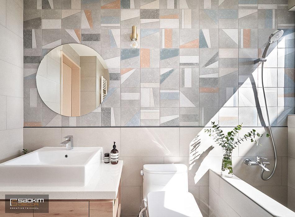 Thiết kế và thi công phòng tắm nhà phố tại Hà Đông đẹp mộng mơ với gam màu pastel