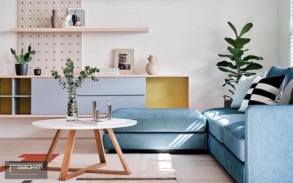 Thiết kế và thi công phòng khách nhà phố tại Hà Đông đẹp mộng mơ với gam màu pastel