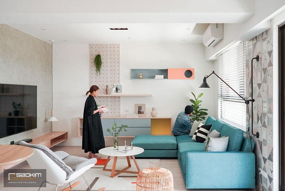 Không gian phòng khách nhà phố là sự kết hợp phong cách tối giản và Color Block