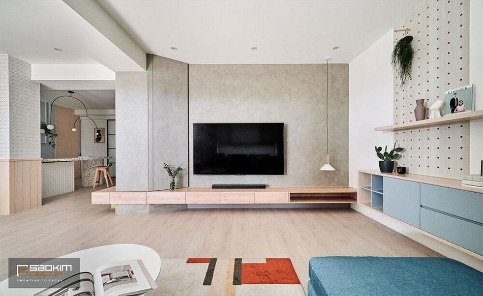 Thiết kế và thi công nội thất nhà phố tại Hà Đông là sự kết hợp giữa phong cách tối giản và Color Block cho phòng khách