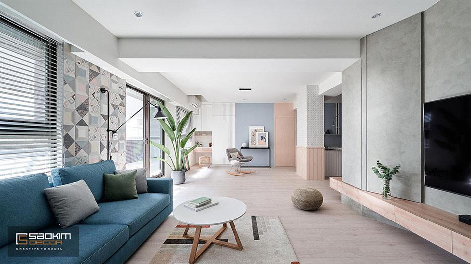 Thiết kế và thi công nội thất nhà phố tại Hà Đông theo phong cách Color Block với gam màu pastel