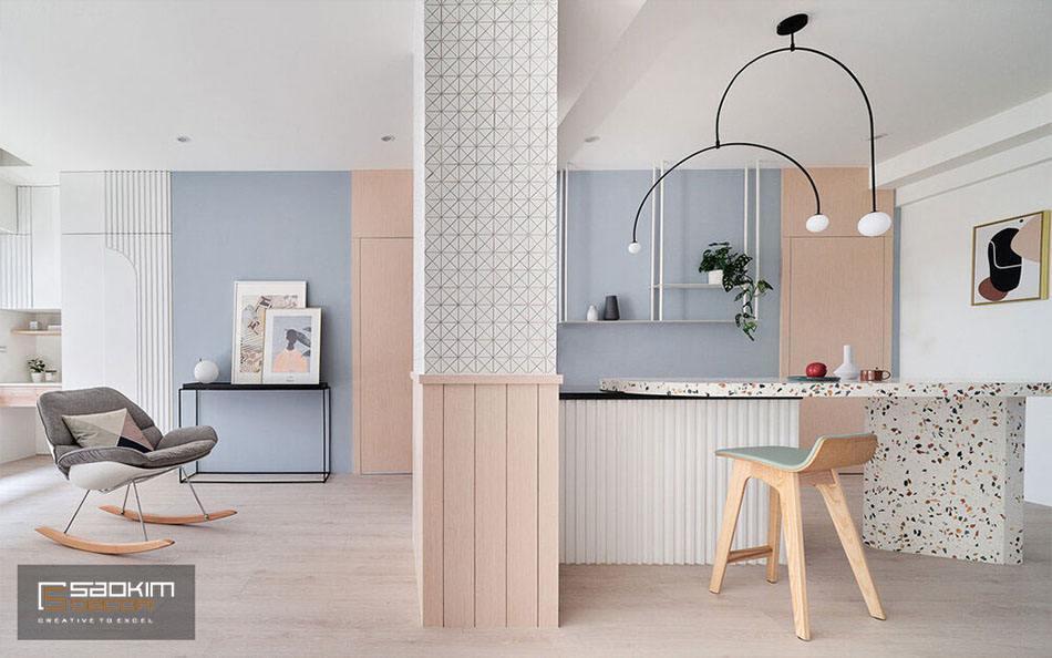 Thiết kế và thi công phòng ăn nhà phố tại Hà Đông đẹp mộng mơ với phong cách Color Block và gam màu pastel