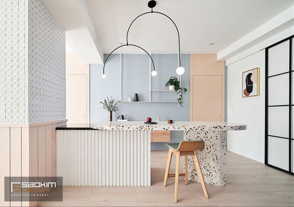 Phòng ăn mang vẻ đẹp cuốn hút với phong cách Color Block và gam màu pastel