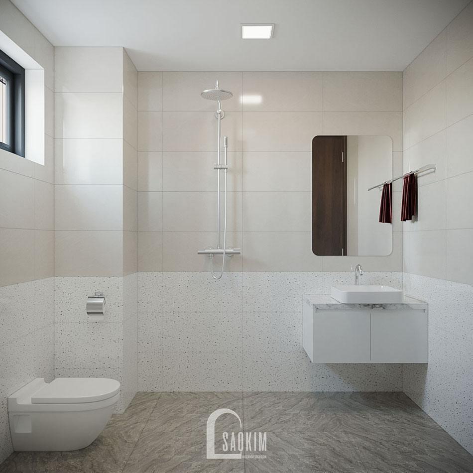 Không gian phòng tắm chung cư KĐT Xa La sạch sẽ, rộng thoáng