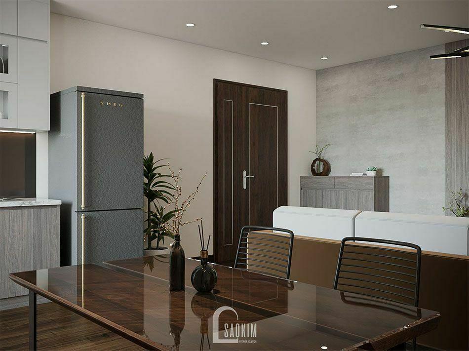 Mẫu thiết kế nội thất phòng ăn và bếp chung cư đẹp 78m2 KĐT Xa La