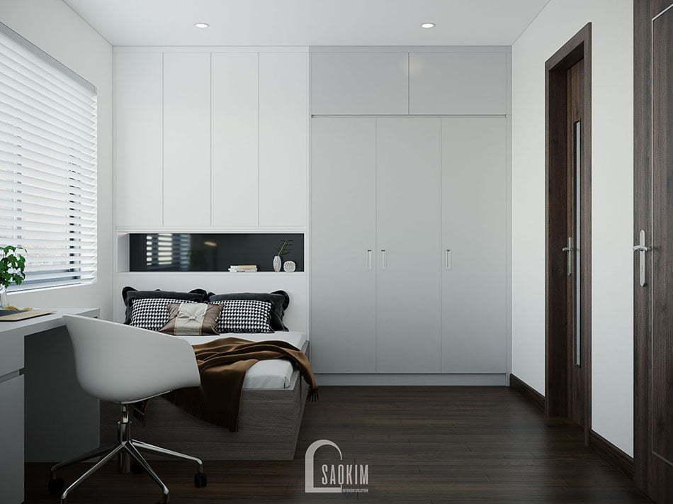 Mẫu thiết kế nội thất phòng ngủ 2 chung cư đẹp KĐT Xa La
