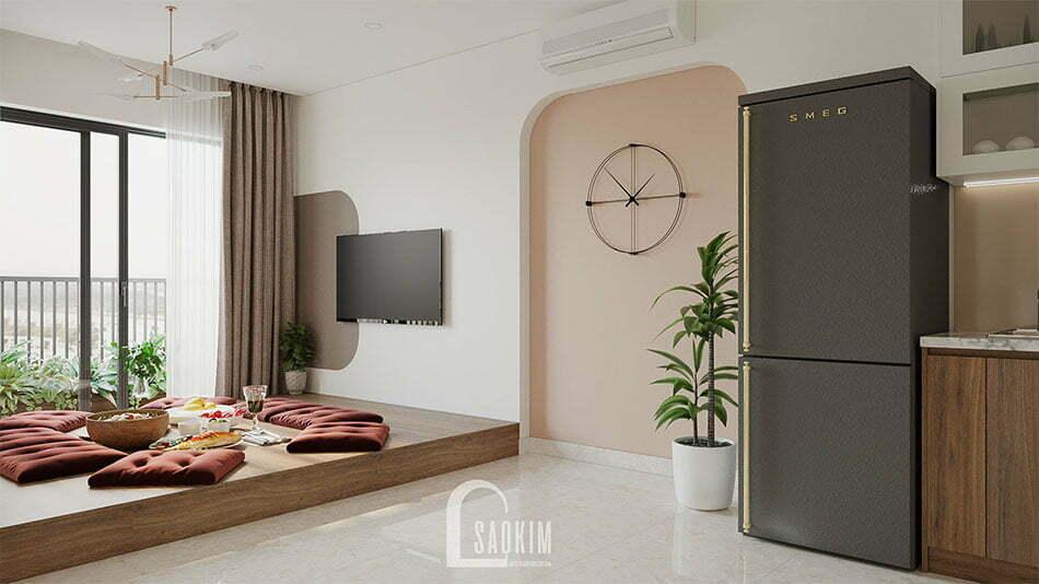 Mẫu thiết kế nội thất phòng khách chung cư nhỏ 68m2 Ocean Park