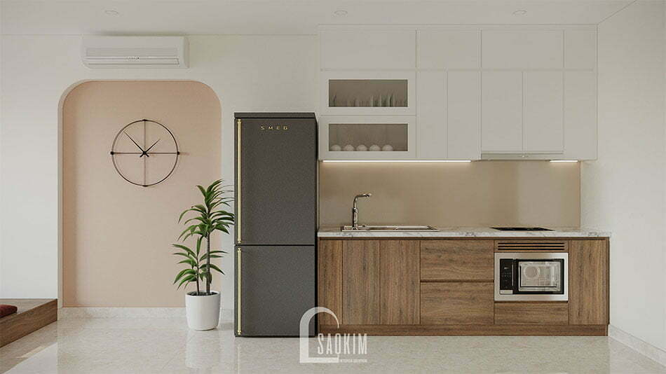 Mẫu thiết kế nội thất bếp chung cư nhỏ 68m2 Ocean Park