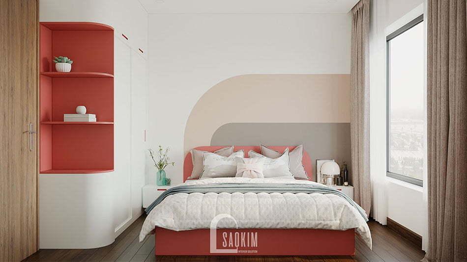 Mẫu thiết kế nội thất phòng ngủ Master chung cư nhỏ 68m2 Ocean Park