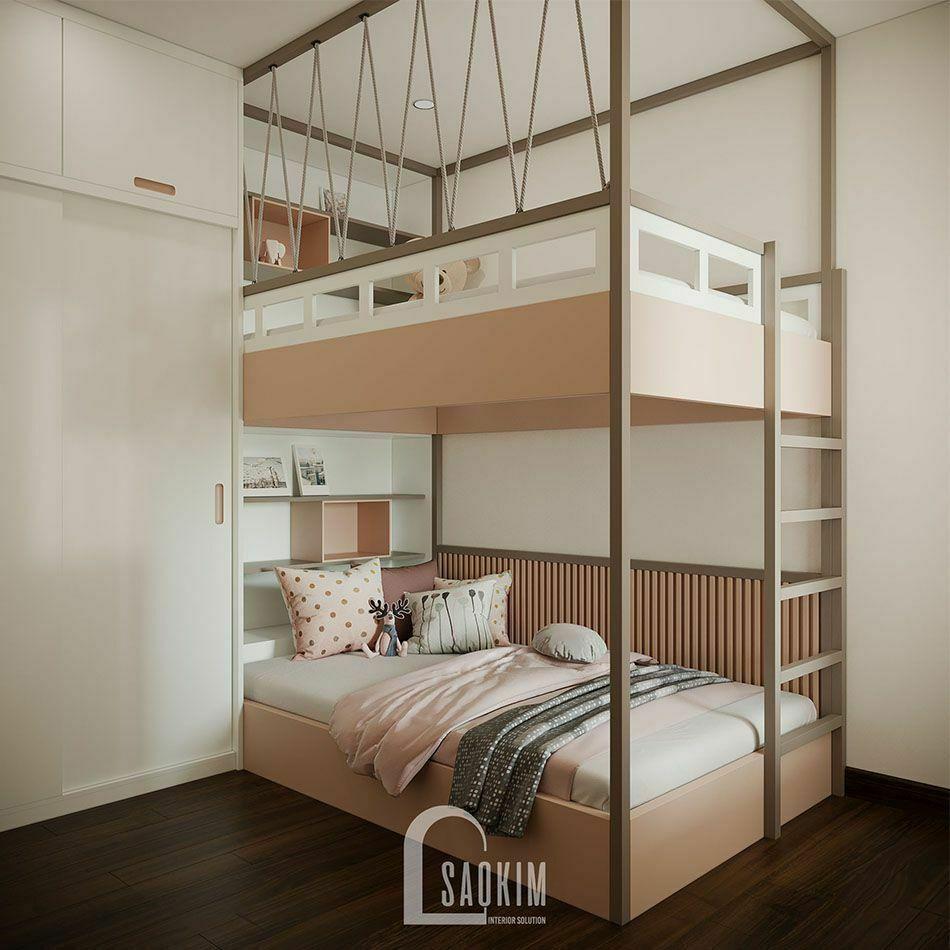 Mẫu thiết kế nội thất phòng ngủ cho bé chung cư nhỏ 68m2 Ocean Park