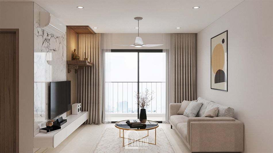 Không gian phòng khách tươi mới, tràn đầy sức sống nhờ hệ thống cửa kính lớn