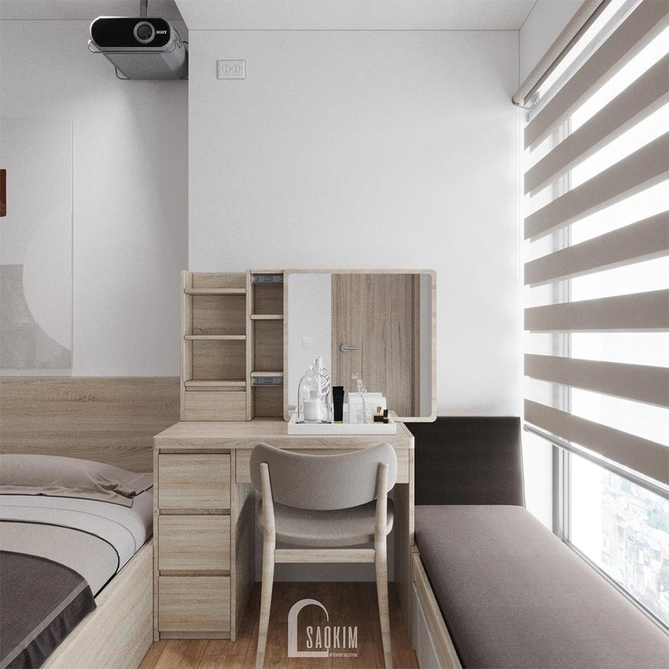 Nội thất phòng ngủ Master tuy đơn giản nhưng tiện nghi, tính thẩm mỹ cao