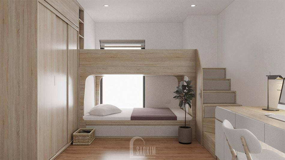 Mẫu thiết kế nội thất phòng ngủ 2 nhà chung cư đẹp 80m2 PCC1 Thanh Xuân