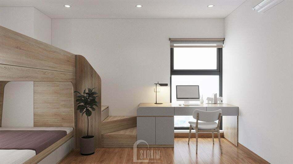 Không gian phòng ngủ 2 bố trí nội thất khéo léo, khoa học, thông minh