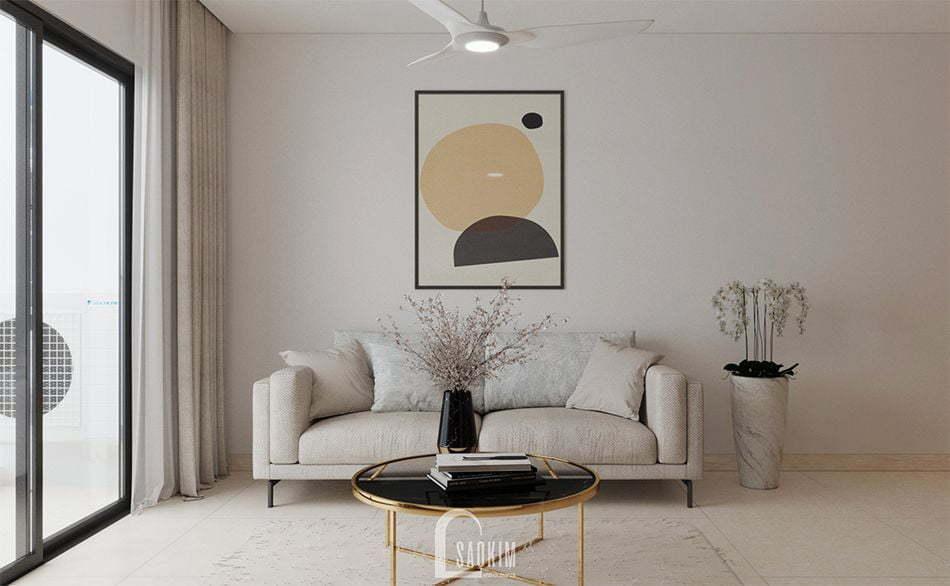 Mẫu thiết kế nội thất phòng khách nhà chung cư đẹp 80m2 PCC1 Thanh Xuân