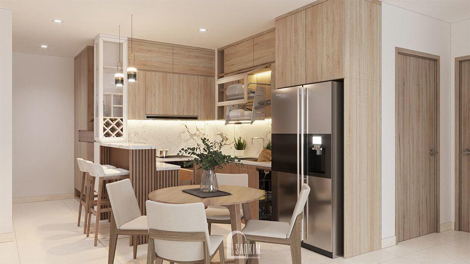 Mẫu thiết kế nội thất phòng ăn và bếp nhà chung cư đẹp 80m2 PCC1 Thanh Xuân