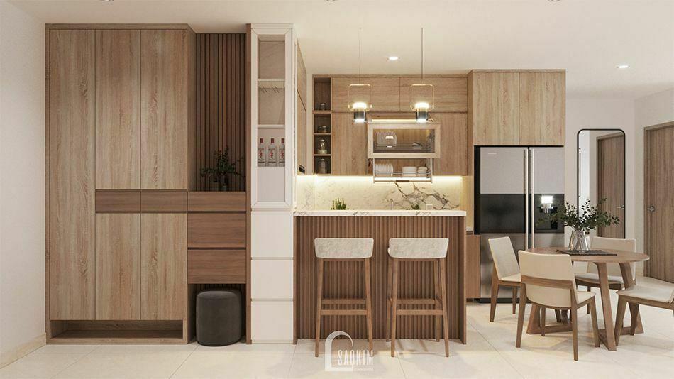 Không gian bàn ăn và bếp gần gũi, bình yên