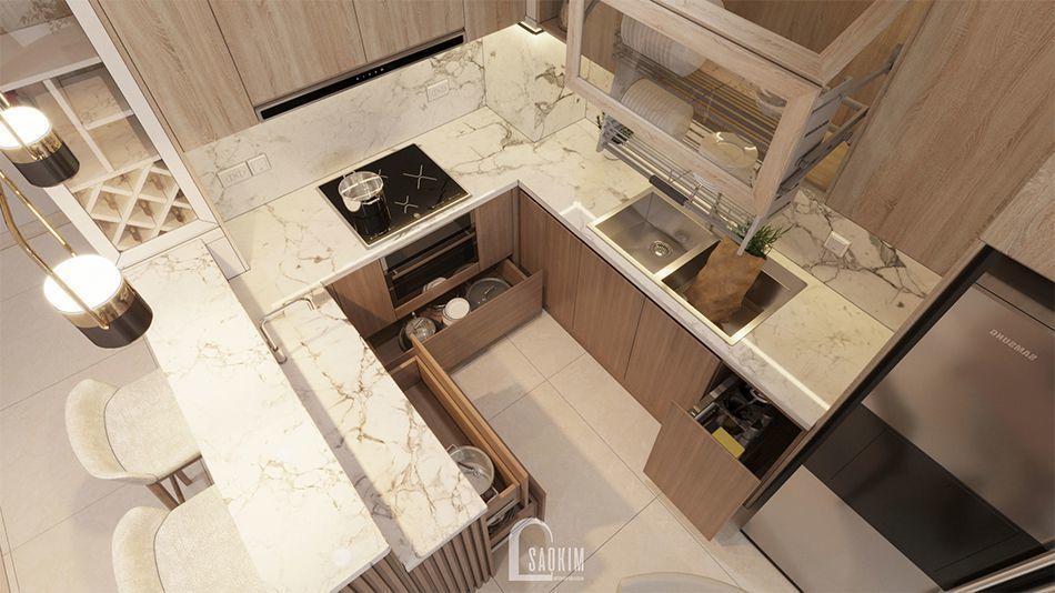 Căn bếp hiện đại với gam màu sáng mang đến cảm giác sạch sẽ, thoáng mát