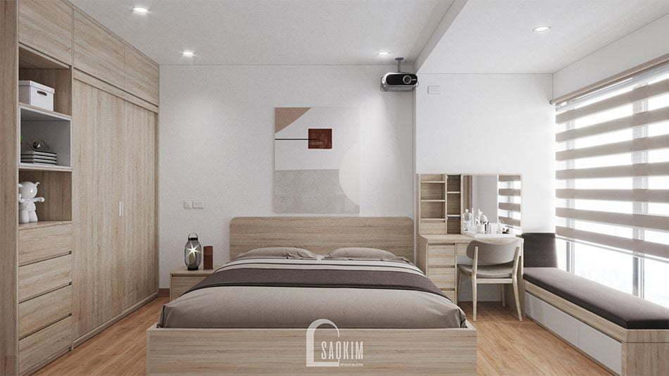 Mẫu thiết kế nội thất phòng ngủ Master nhà chung cư đẹp 80m2 PCC1 Thanh Xuân